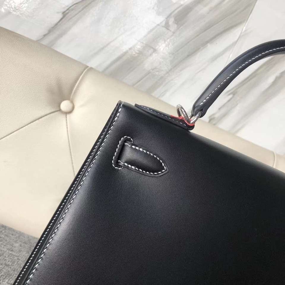Discount Hermes CK89 Noir Box Calf Kelly28cm Tote Bag Silver Hardware