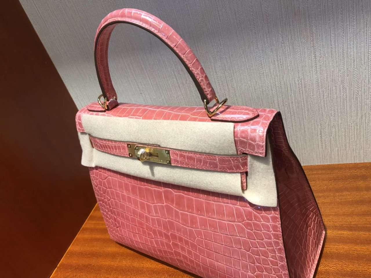 Pretty Hermes L5RoseCrevette Shiny Crocodile Kelly Bag28CM Gold Hardware