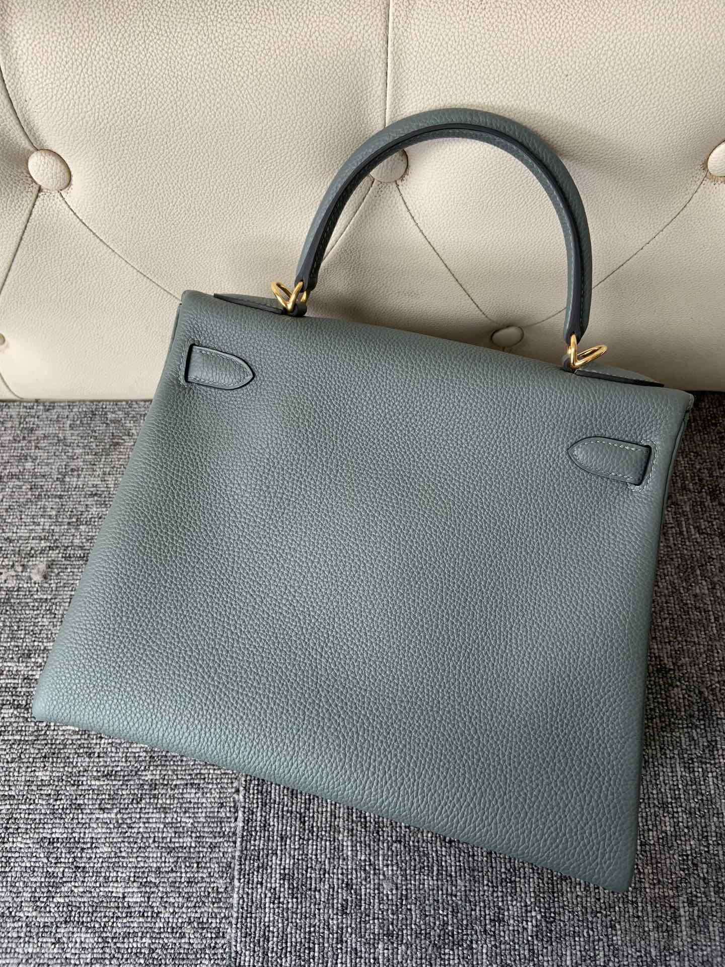 New Arrival Hermes CC63 Vert Amande Togo Calf Kelly28cm Bag Gold Hardware
