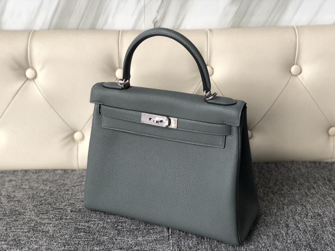 New Hermes CC63 Vert Amande Togo Calf Kelly Bag28CM Silver Hardware